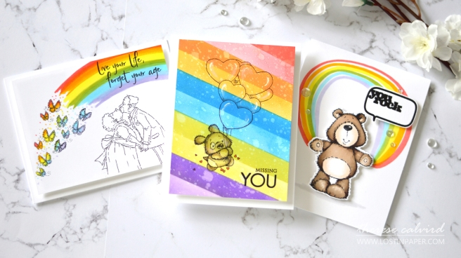 Penny Black Gimme 5 - Rainbow Backgrounds - Therese Calvird (card video) 1