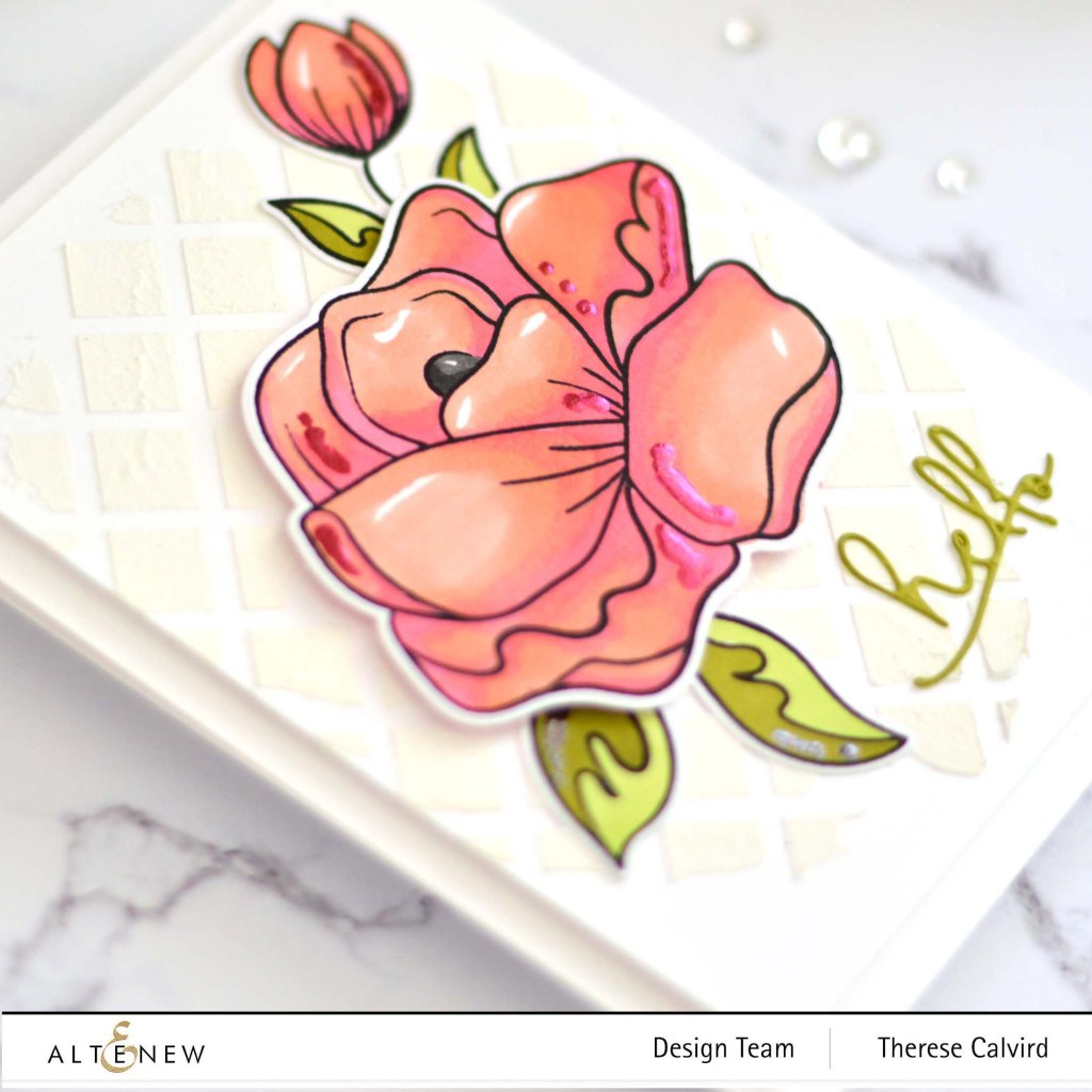 Therese Calvird - Altenew - Simple Roses - Signature Words Die - Trellis Stencil (card) 2 copy