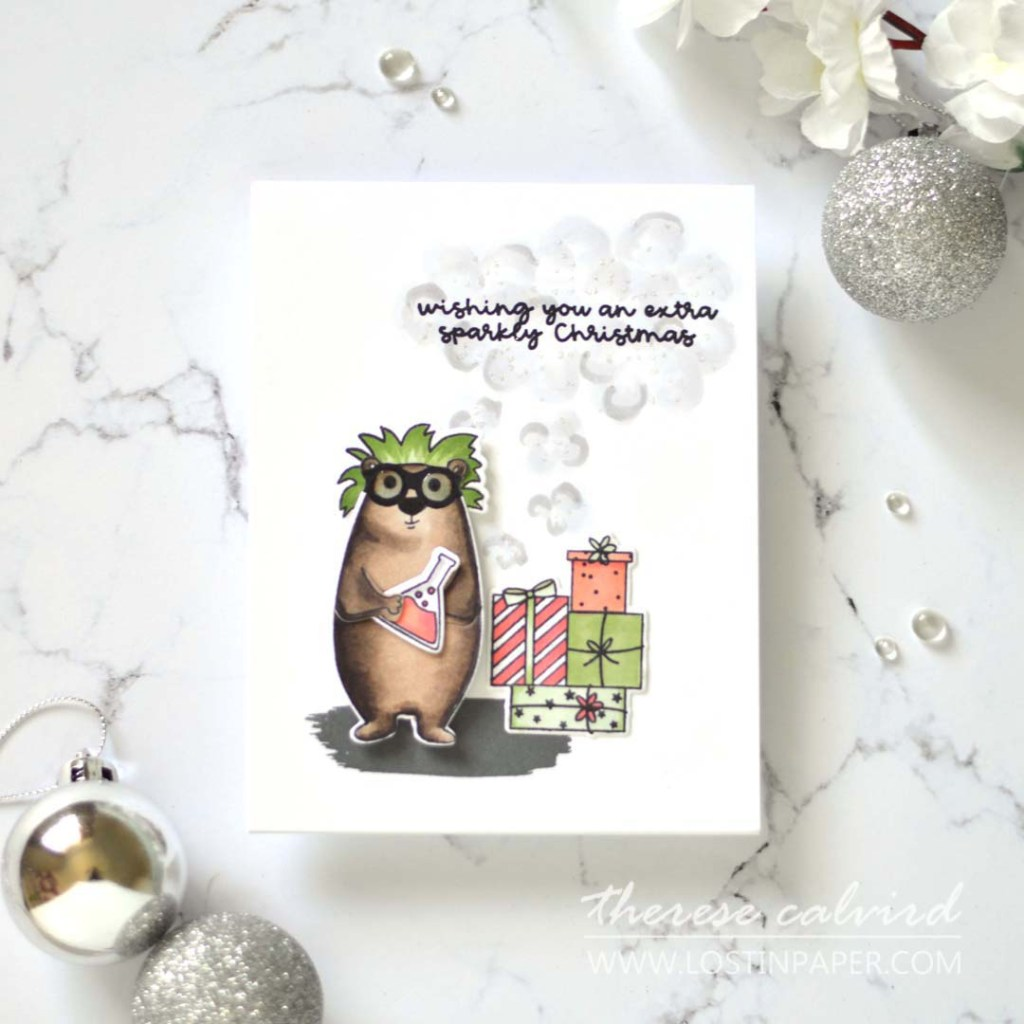 Lostinpaper - Ellen Hutson - Bear Ware 5 - Sparkly Chirstmas - All Inside - Abstract Paint Strokes (card) 1