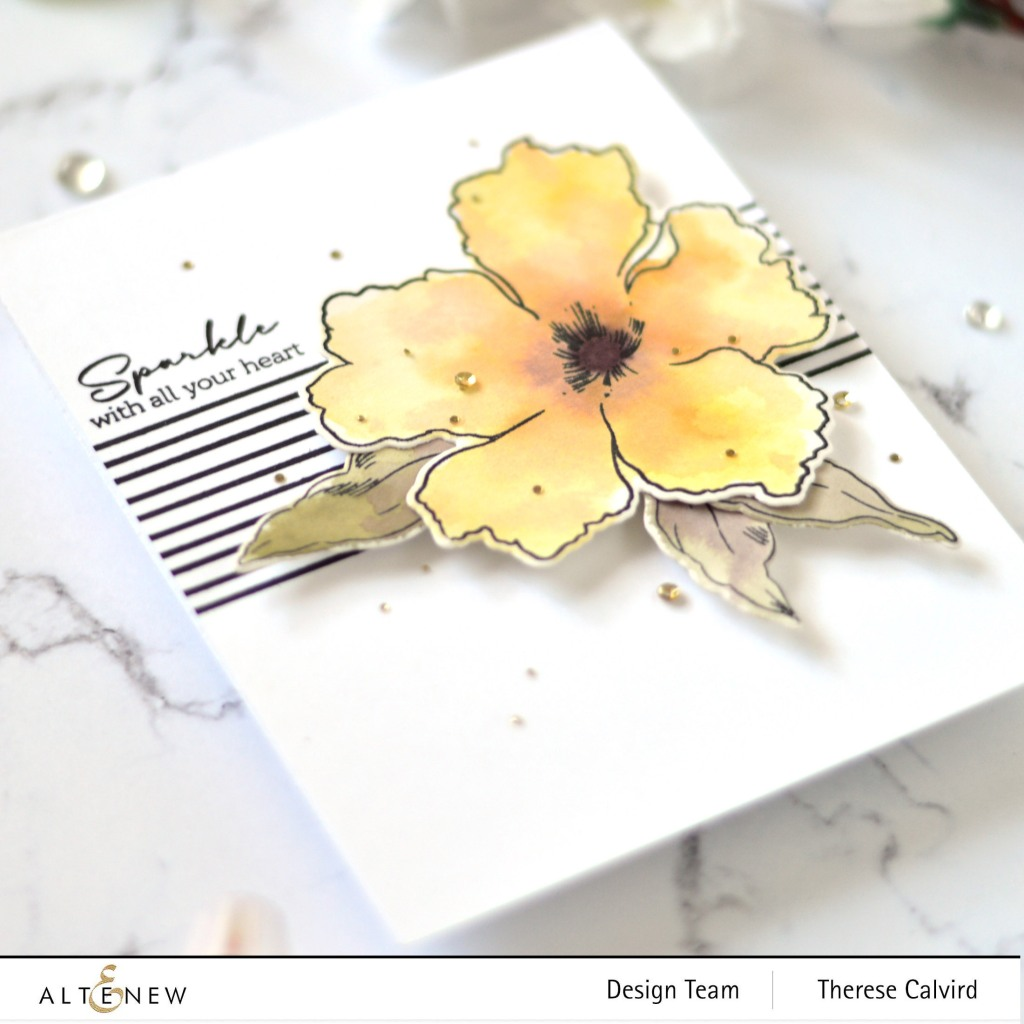 Therese Calvird - Altenew - Sparkled - Striped Circle - Antique Gold Sequins (card) 1 copy