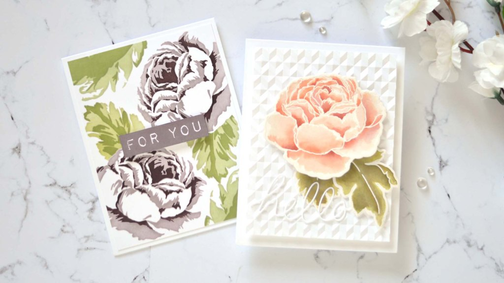 Altenew - Tranquility Rose - Simple Coloring Stencil - Handwritten Hello Die - Angled Mosaic 3D Embossing Folder 1 copy