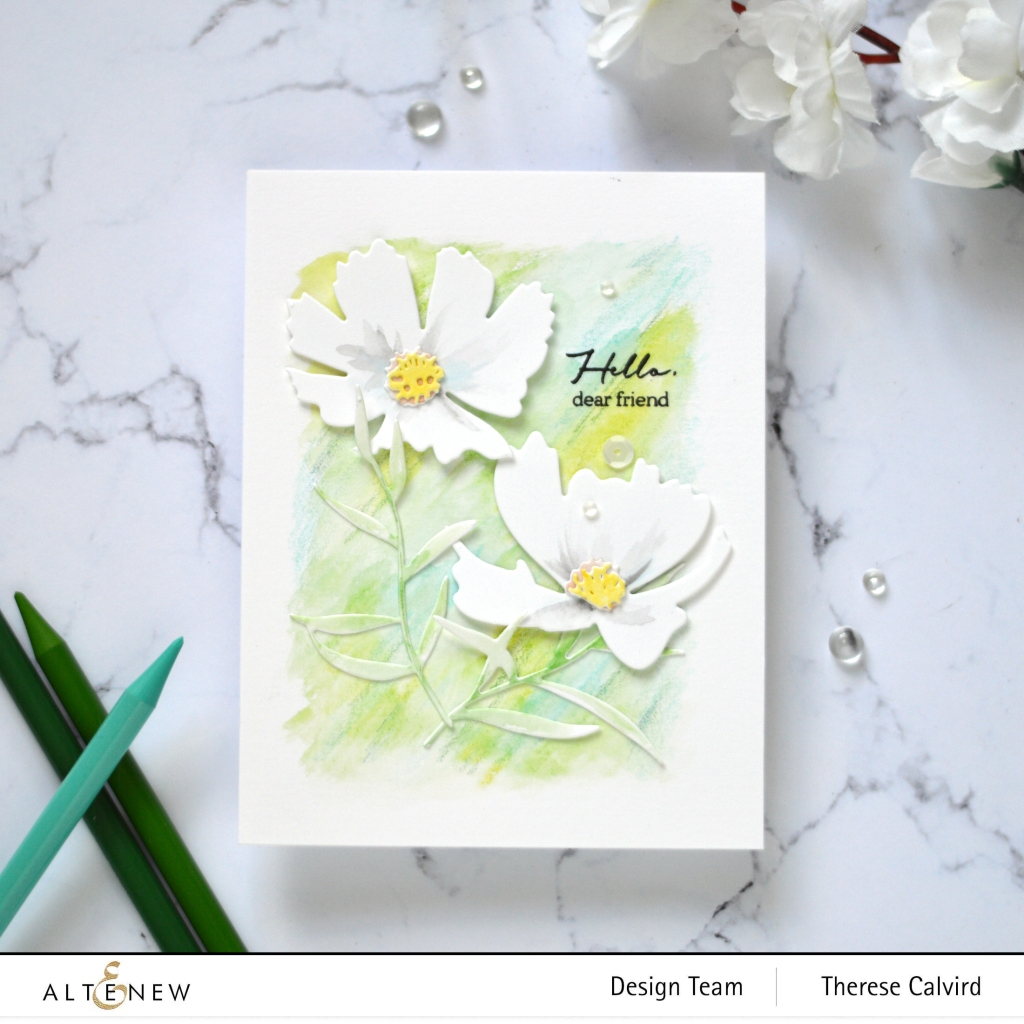 Altenew - Craft A Flower - Cosmos - Pen Sketched Silhouette - Woodless Watercolor Pencils (card video) 3 copy
