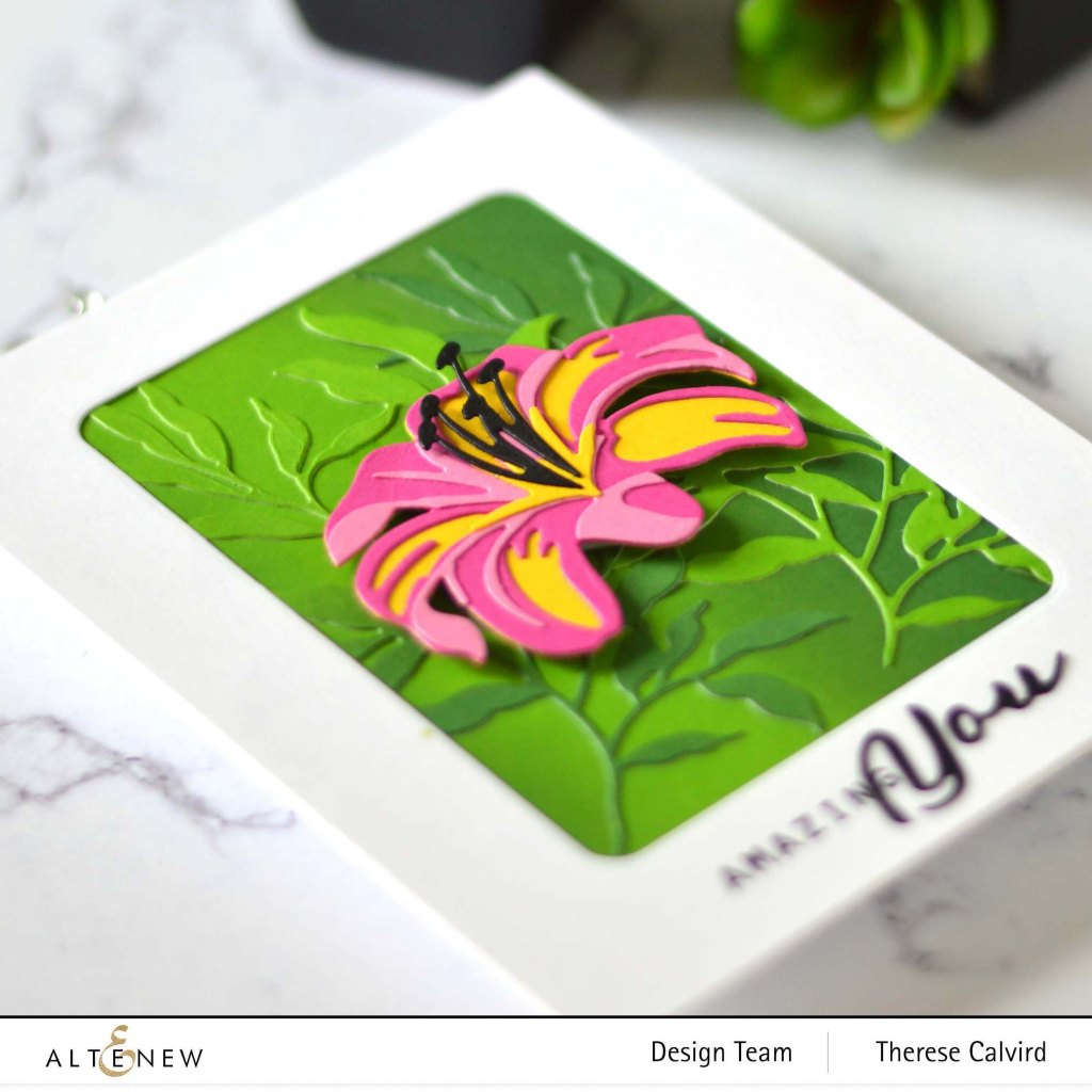 Altenew - Craft A Flower Lily - Simple Greetings - Just Leaves - Tranquility Rose - Rounded Rectangles 2 copy