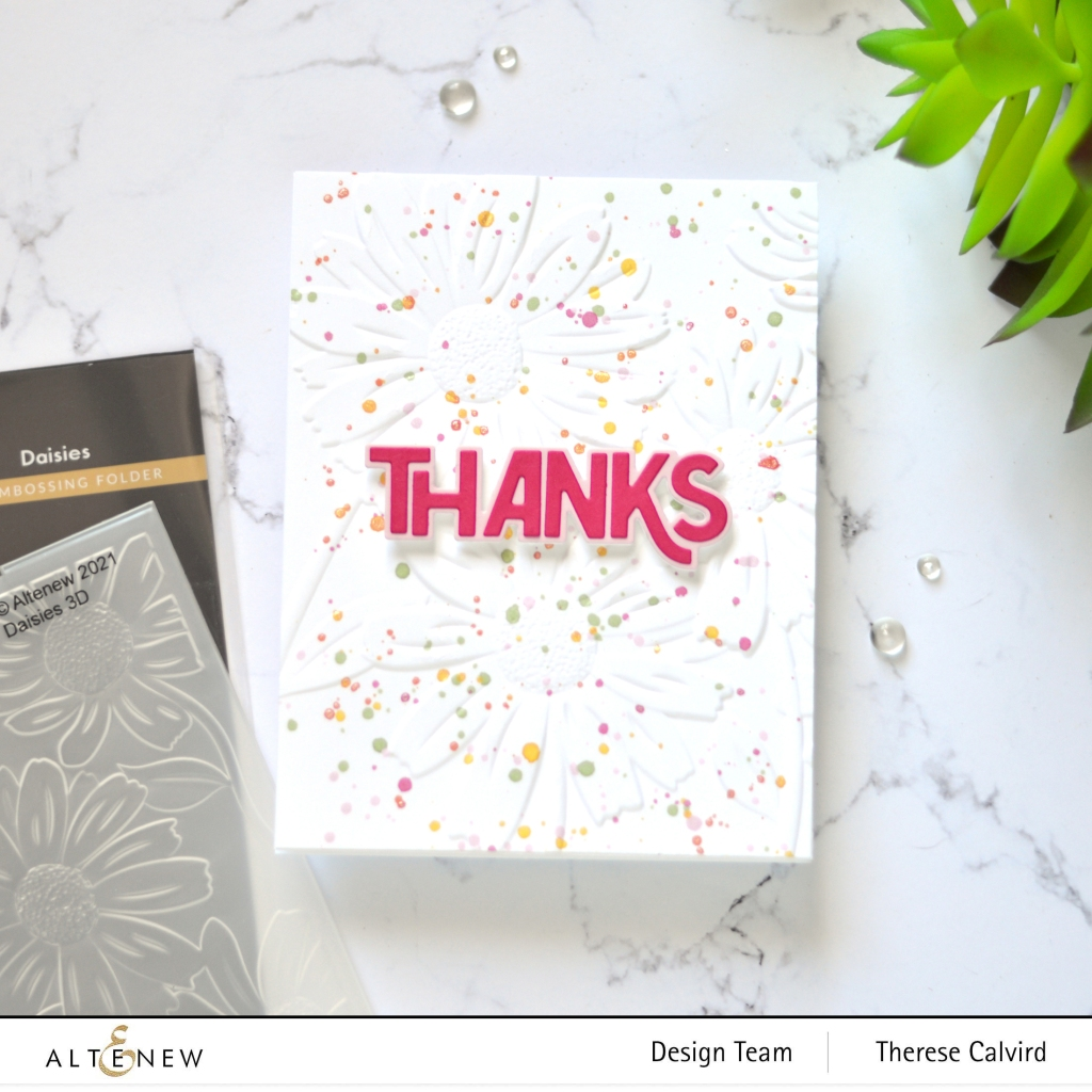 Altenew - Daisies 3D Embossing Folder - Bold Thanks Die (card) 4 copy