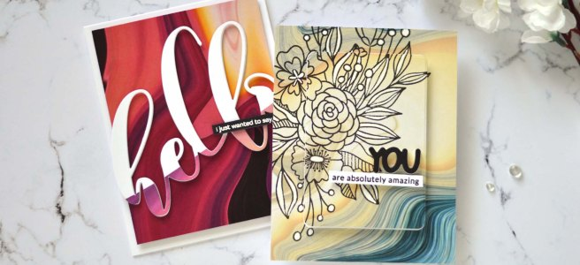 Altenew - Poured Acrylic Paper Pack - Bouquet of Love - Mega Hello Die (card video) 1